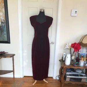 Velour, Velvet Cocktail Burgundy Evening Dress